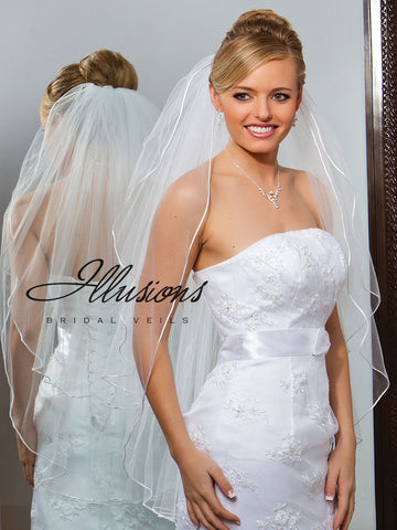 Illusion Bridal Fingertip Length Veil S1-362-RT