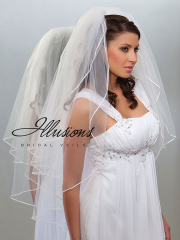 Illusion Bridal Fingertip Length Veil S1-362-ST