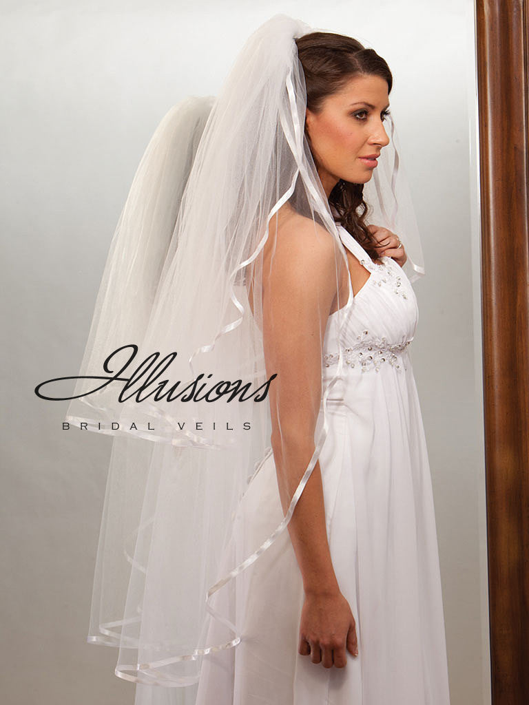 Illusion Bridal Knee Length Veil S1-452-3R