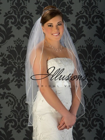Illusion Bridal Fingertip Length Veil S5-362-ST