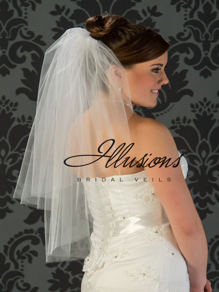 Illusion Bridal Waist Length Veil S7-302-CT