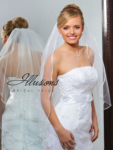 Illusion Bridal Fingertip Length Veil S7-362-1R