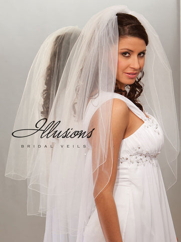 Illusion Bridal Fingertip Length Veil S7-362-C
