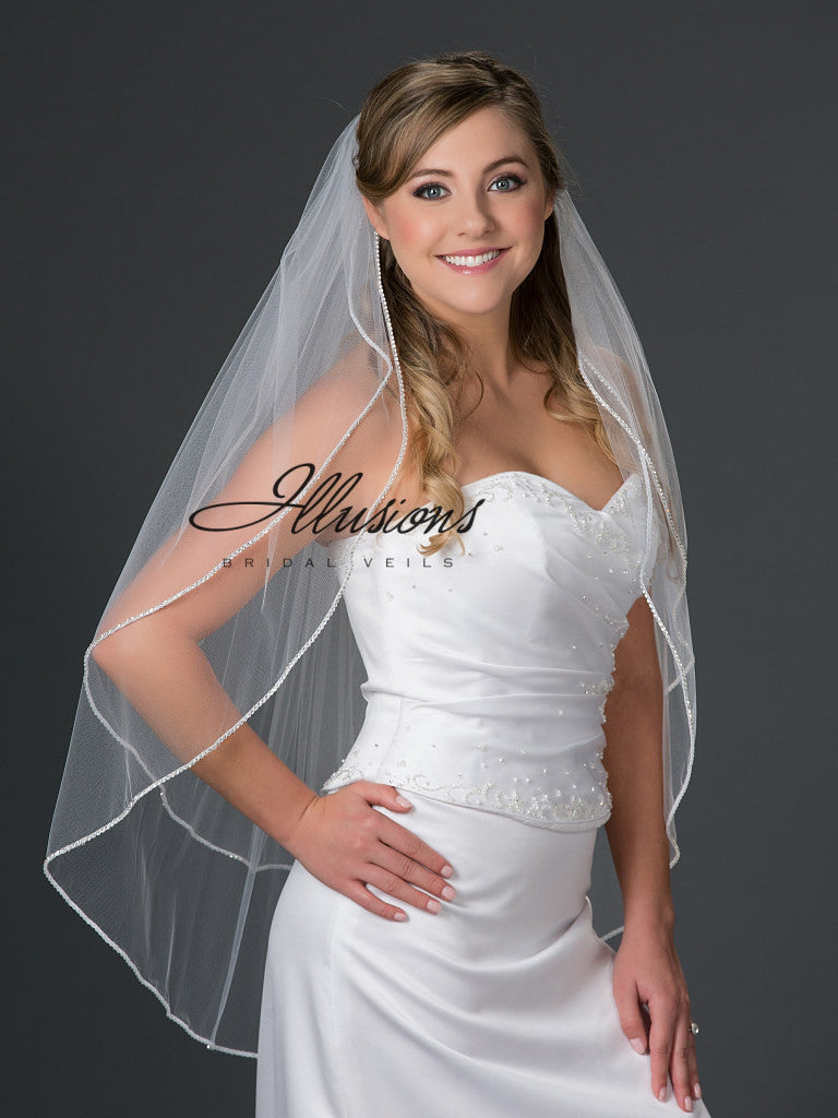 Illusion Bridal Fingertip Length Veil S7-362-RS