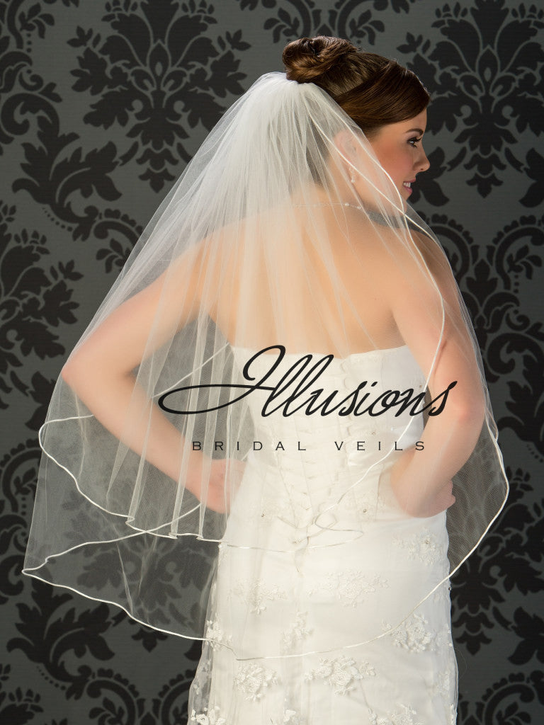 Illusion Bridal Fingertip Length Veil S7-362-RT