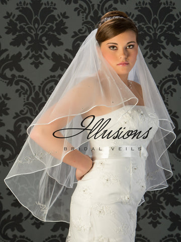 Illusion Bridal Fingertip Length Veil V-7019