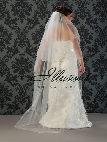 Illusion Bridal Floor Length Veil V-7022