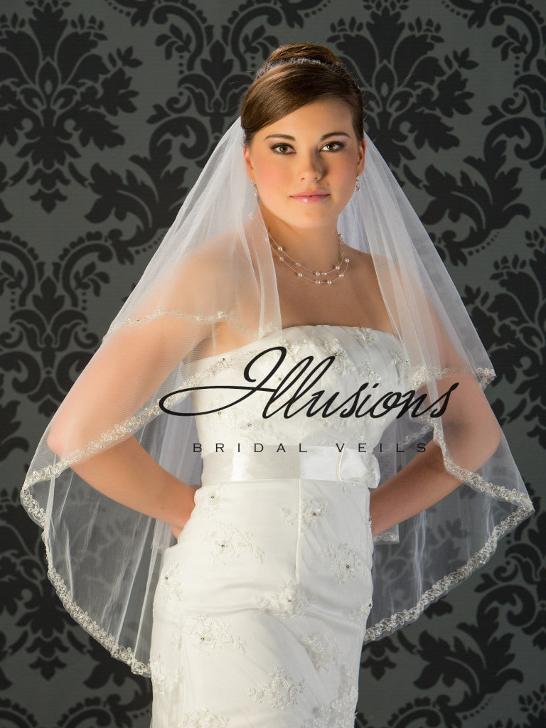 Illusion Bridal Fingertip Length Veil V-7026