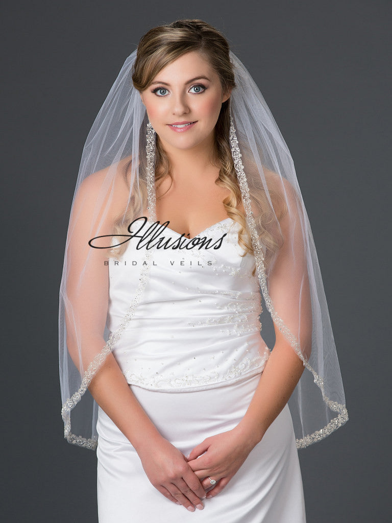 Illusion Bridal Fingertip Length Veil V-7050