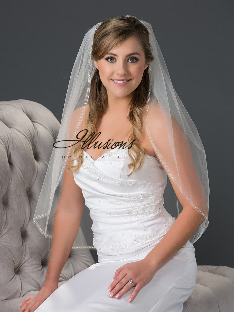 Illusion Bridal Waist Length V-7052