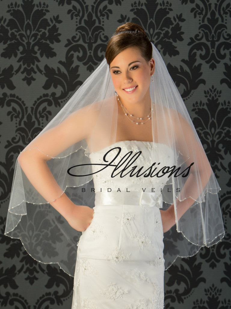 Illusion Bridal Fingertip Length Veil V-743