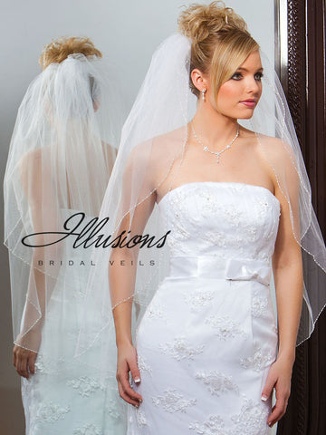 Illusion Bridal Fingertip Length Veil V-748