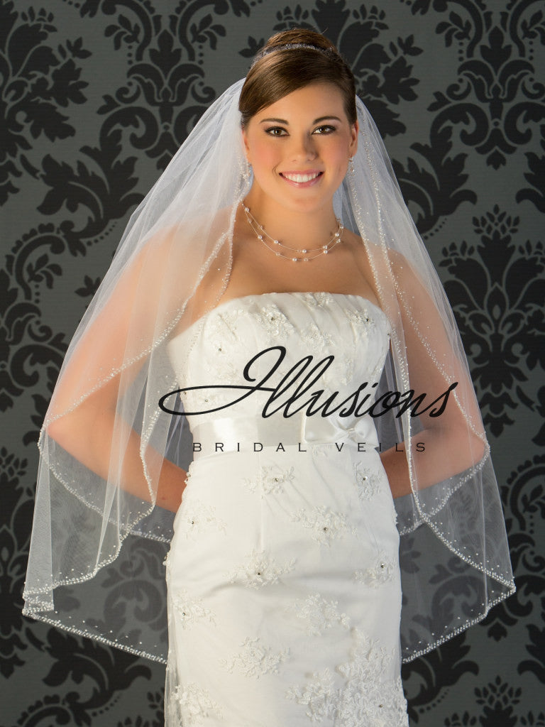 Illusion Bridal Fingertip Length Veil V-790