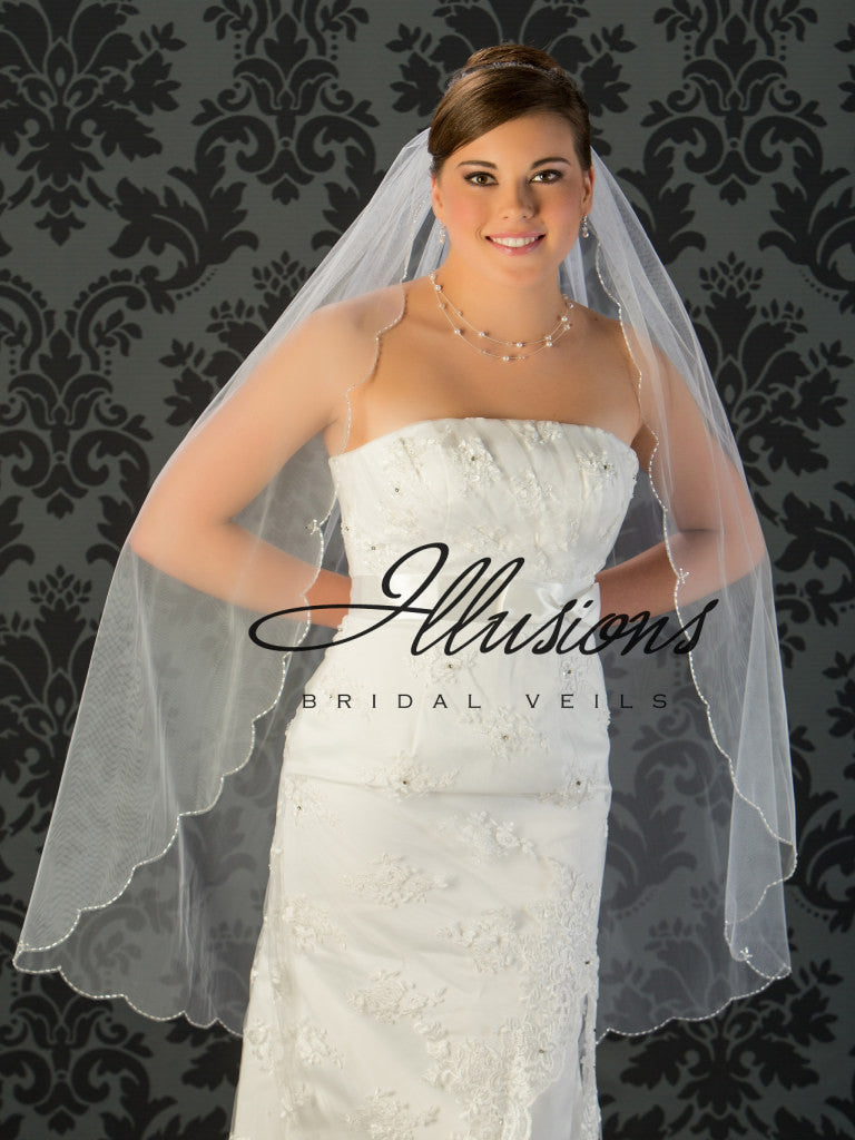 Illusion Bridal Knee Length Veil  V-795