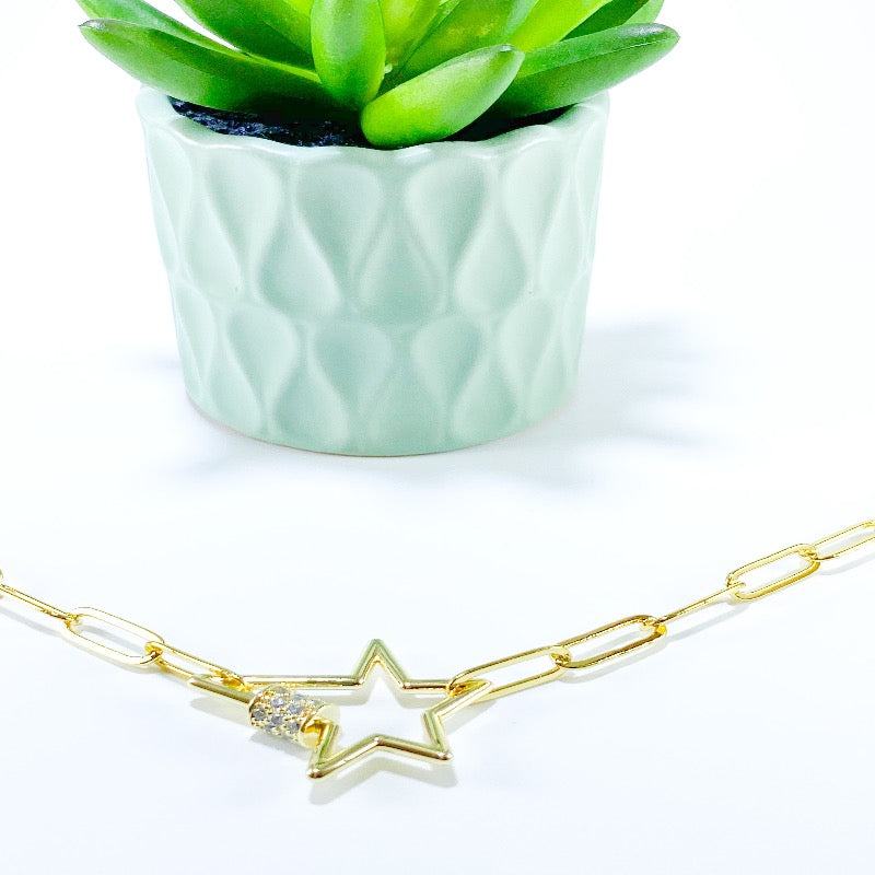 Star link necklace , carabiner lock