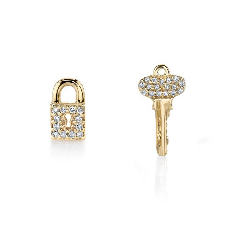key and lock studs gold with diamondettes