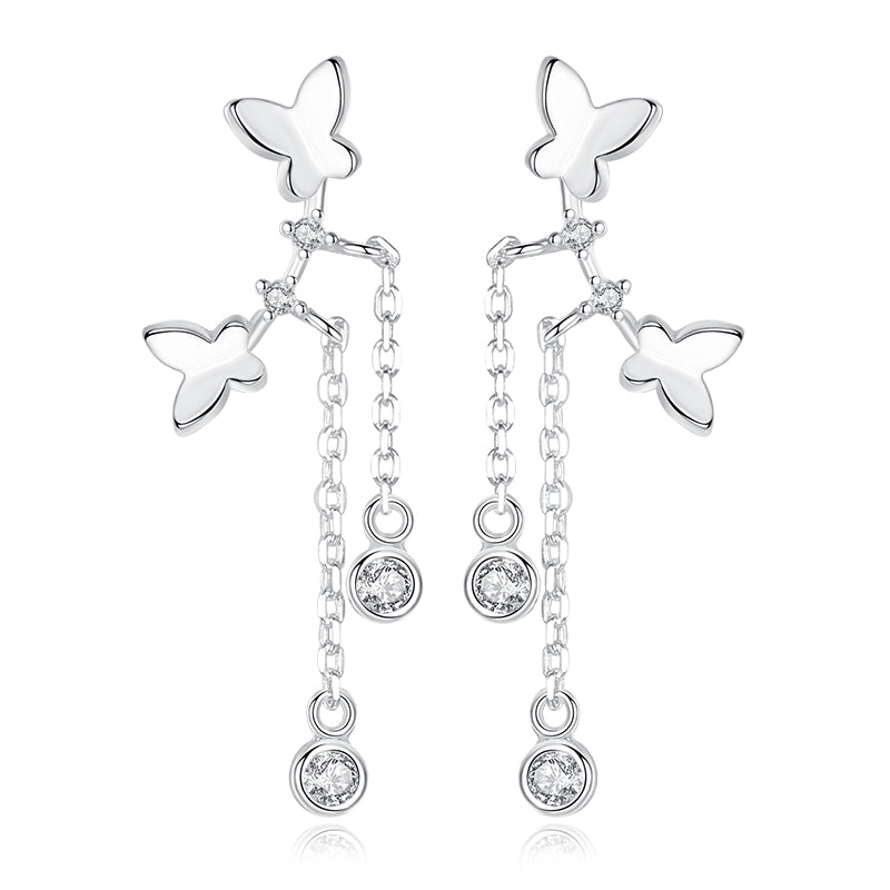 silver tinny butterfly drop earrings