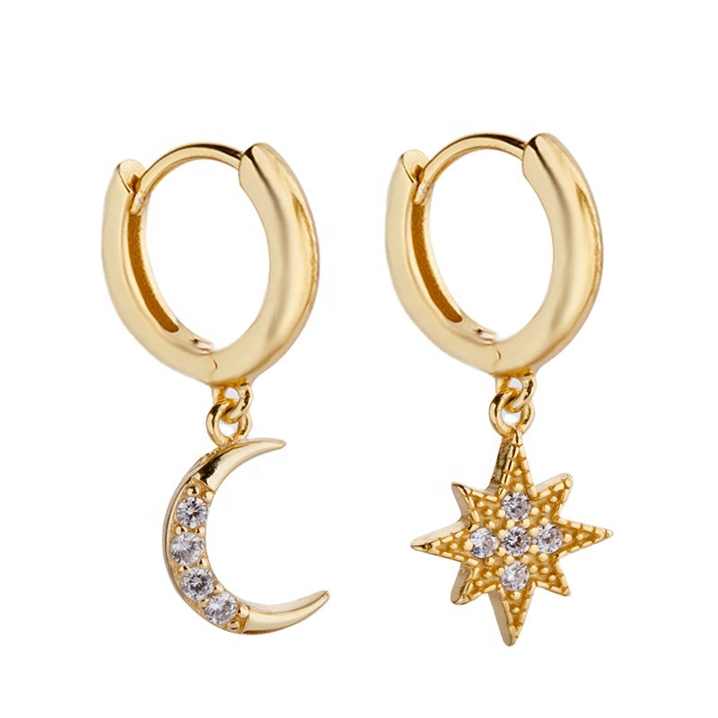 star and moon gold earrings