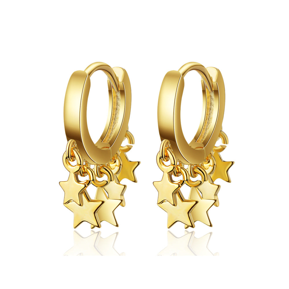Dangle earrings with stars in gold