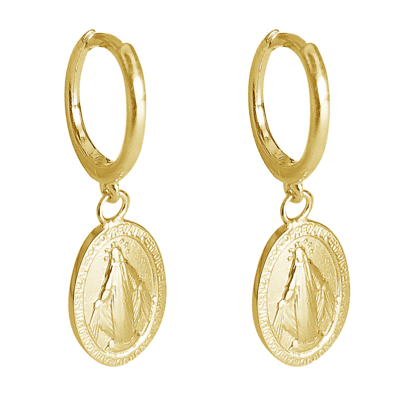 Gold earrings with Virgin Mary