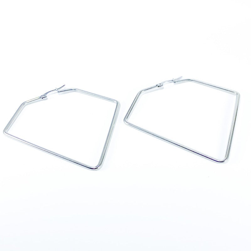 silver long geometric hoops