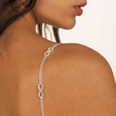 silver bra straps on medium skin color