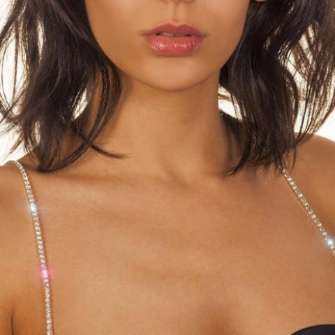 one row silver diamond bra straps