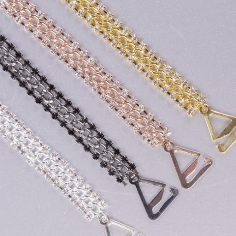 silver, black, rose gold, yellow gold bra straps