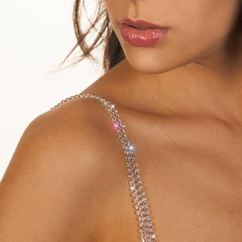 silver shiny bra straps on medium skin