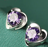 Warrior Heart Silver Purple Gem Earrings