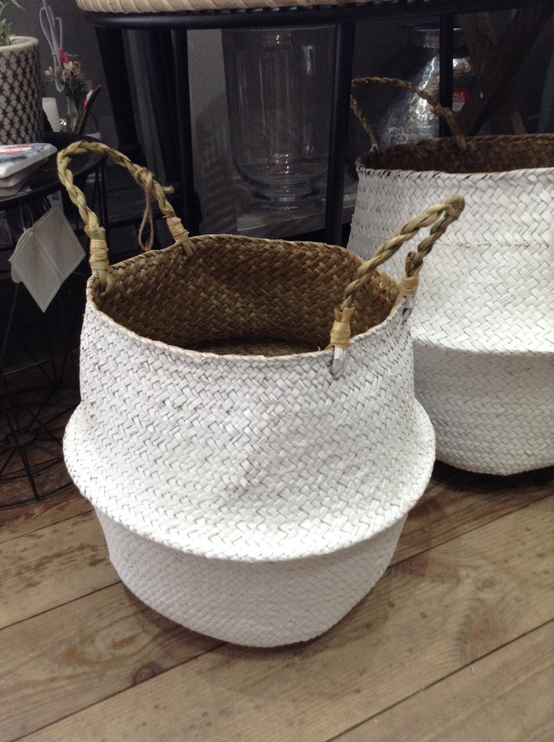 Medium white grass basket