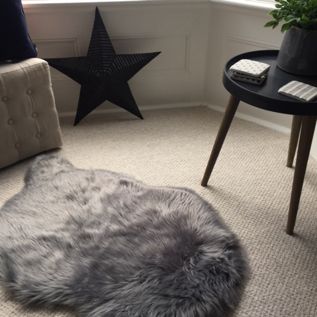 Grey Faux fur Sheepskin Rug