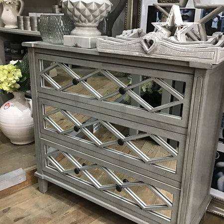 Grey 3 Drawer Mirrored Unit