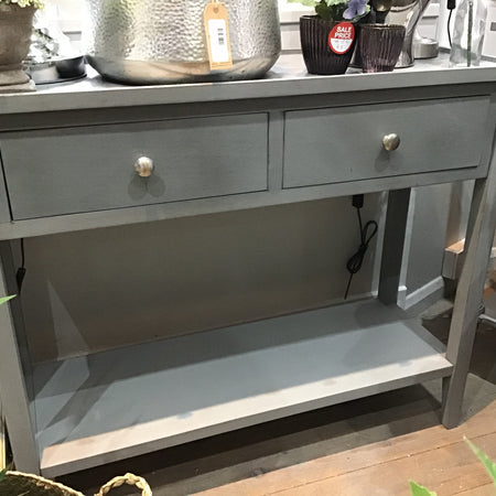 Grey two drawer console table