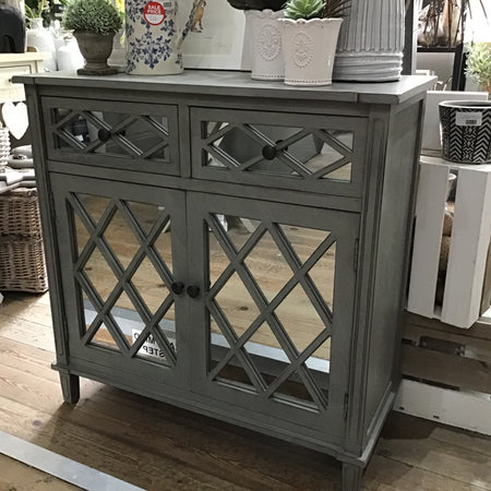 Mirrored two drawer cupboard sideboard