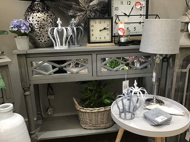 Grey Mirrored two drawer console