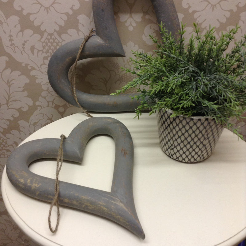 Large grey chunky hanging heart