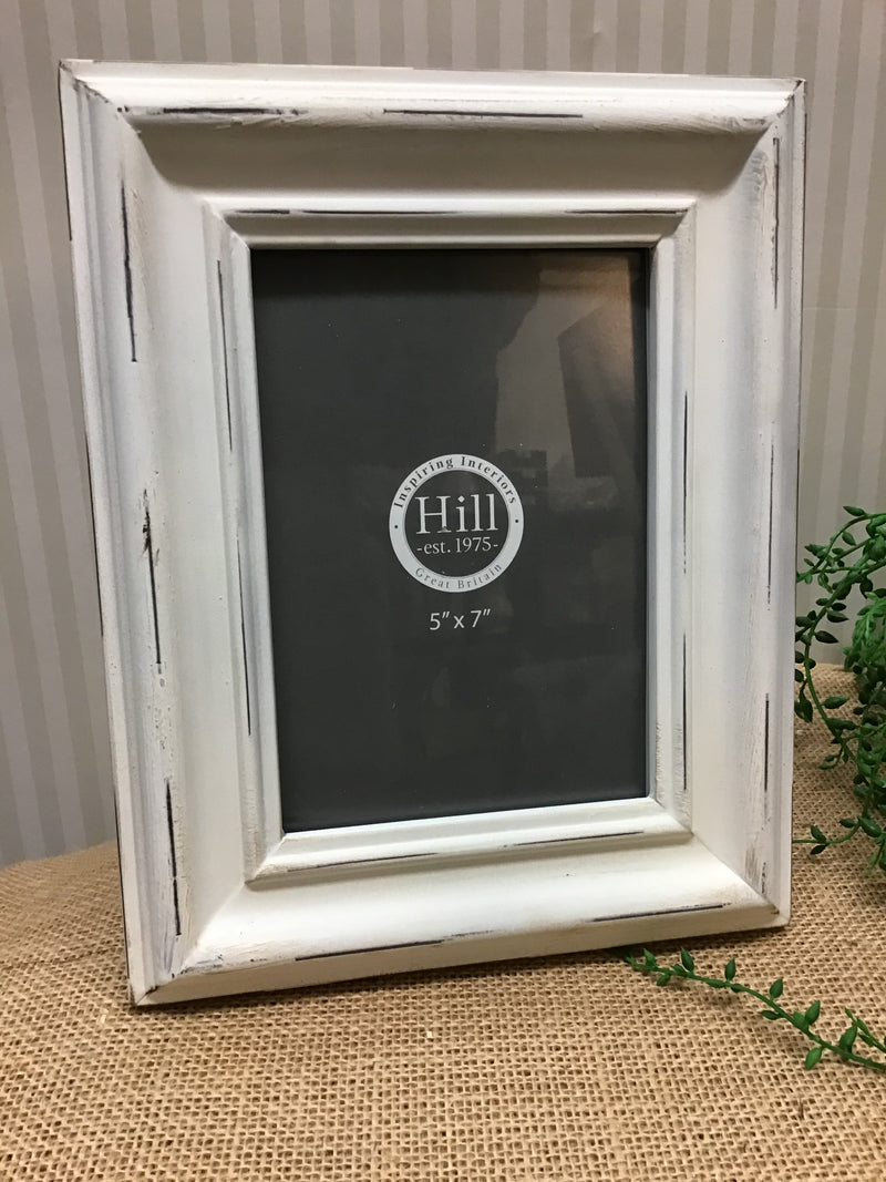 5x7 off White Distressed Frame