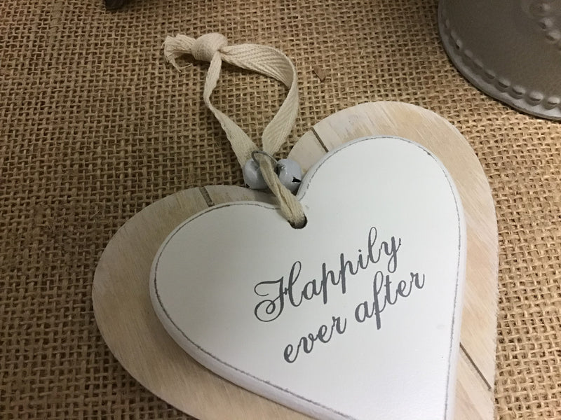 Happily Ever After Hanging Heart Wooden Plaque