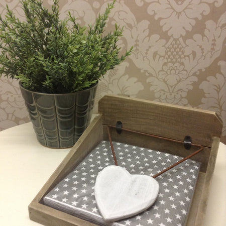 Wood heart napkin holder
