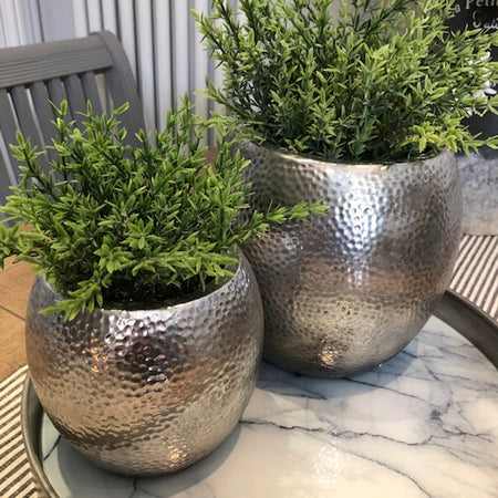 Medium silver hammered bowl plant pot