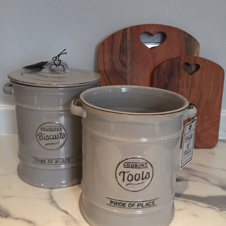 Ceramic Biscuit & Cookie Jar grey