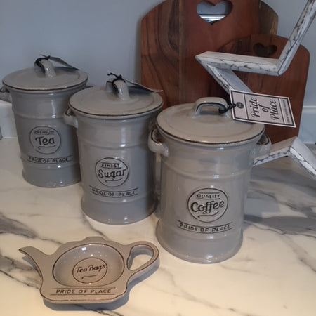 Grey Tea, Coffee & Sugar Jars Canisters