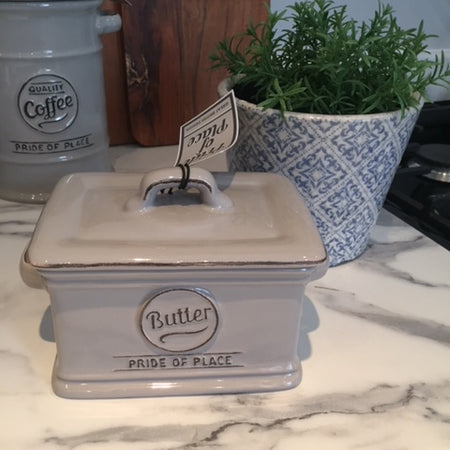 Grey ceramic butter dish