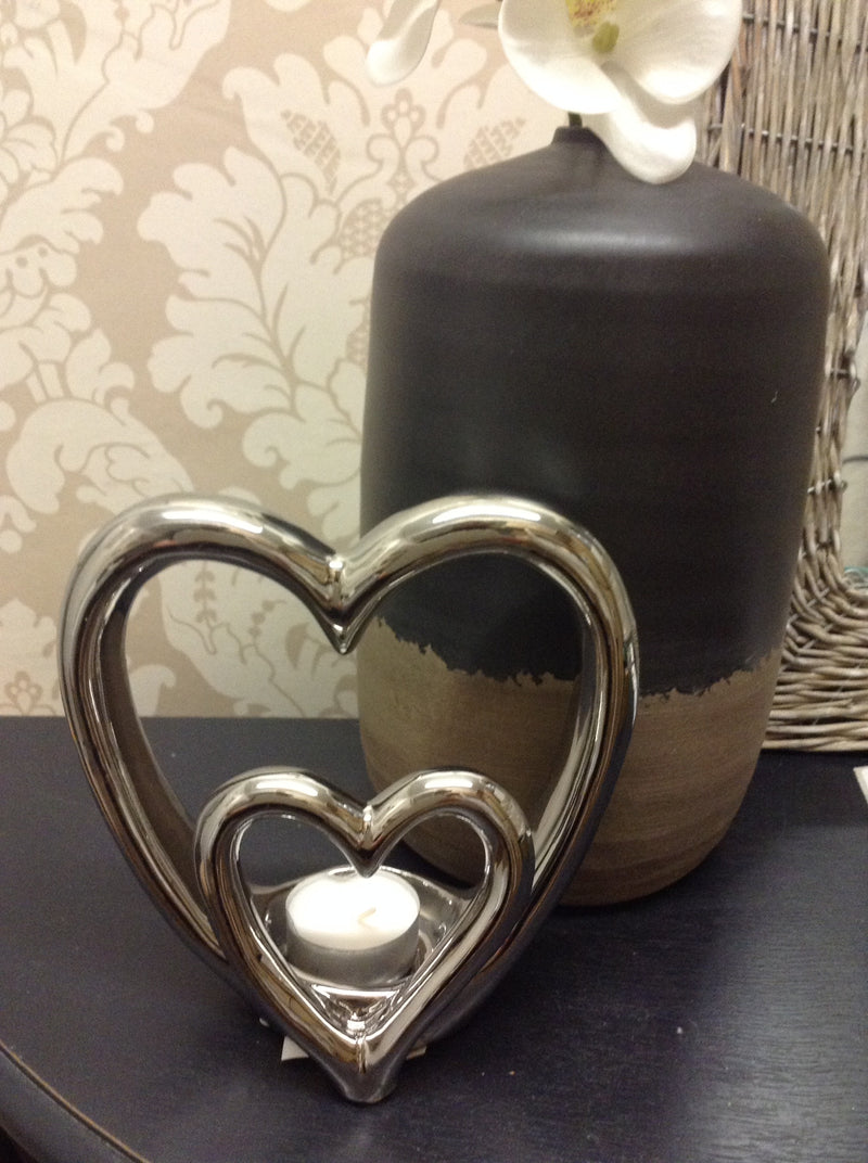 Silver double heart candle holder