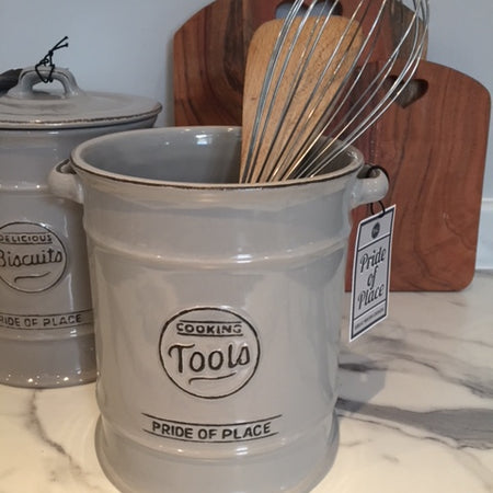 Large Grey Ceramic Utensils tool Jar