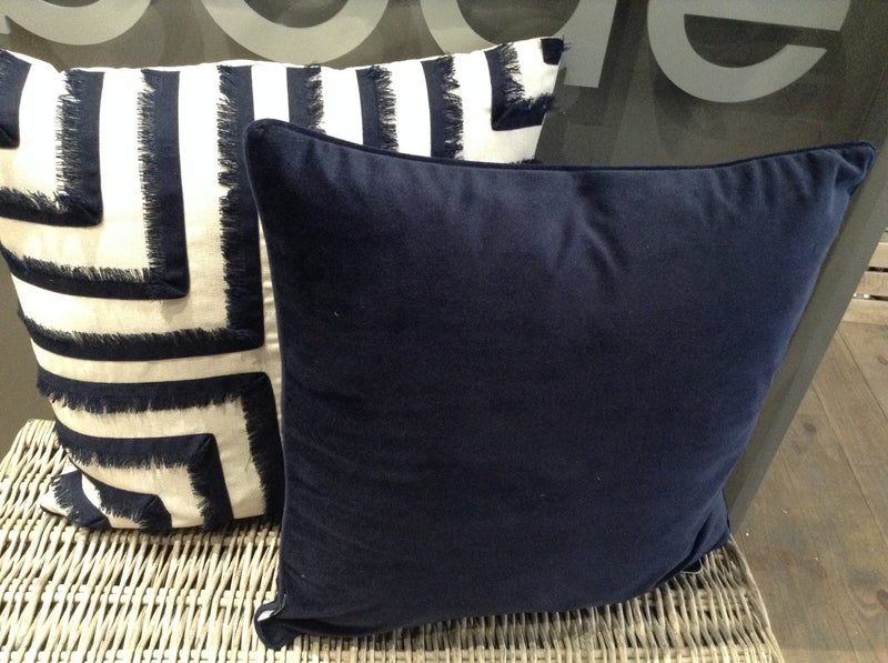 Navy velvet piped cushion