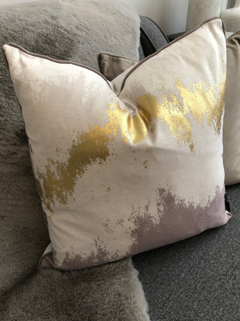 Gold and taupe cushion 45cm