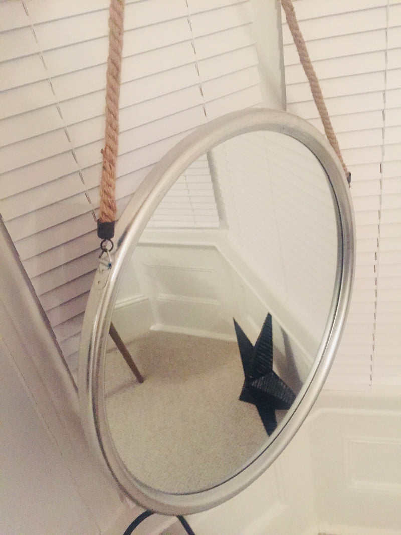 Chunky off white round mirror 82cm