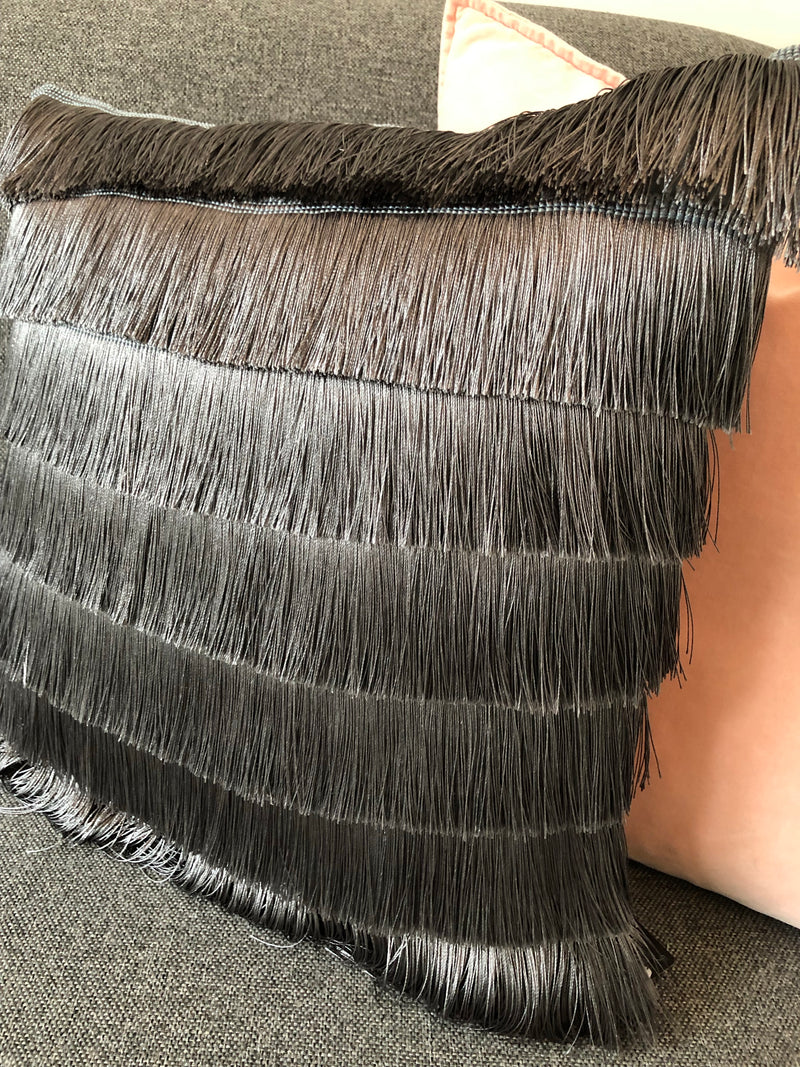 Grey Fringed Cushion